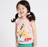Wholesale girl giraffe - 2018 NEW ARRIVAL girl Kids 100% Cotton Short Sleeve lion giraffe print T shirt girls causal summer t shirt