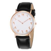 уникальные часовые пояса оптовых-Уникальные творческие арабские номера мужские часы мужской моды свободного покроя кожаный ремешок кварцевые наручные часы Relogio Masulino Montre Homme Clock