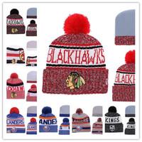neue trikothüte großhandel-Wintermütze Hüte Chicago Blackhawks Eishockey Strickmützen Stickerei Mütze Gestickte NEW JERSEY DVILS Genähte Hüte Eine Größe