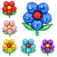 inflável flor decorações venda por atacado-Folhas Cinco Pétalas Flor Balões Foil Casamento Adereços de Casamento Balões Decoração de Festa Suprimentos Crianças Brinquedos Infláveis Balão Presente