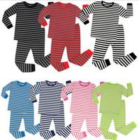 Wholesale kids wholesale clothes stripes for sale - kids Christmas pajamas SET long sleeve sleepwear Boy stripe Clothes Christmas Kids Clothing Set nightwear KKA6167