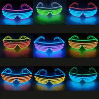 serin ışık neon toptan satış-Serin Yanıp Sönen LED Güneş Gözlüğü LED EL Tel Işık Light Up Neon Gözlük Kostümleri Parti Dekoratif Aydınlatma Etkinl ...