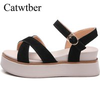 ingrosso sandalo beige bohemien-Catwtber 2018 Nuova vendita calda Sandali Donna Summer Slip On Shoes Peep-toe Scarpe basse Sandali romani donna bohemien