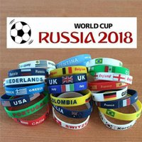 Wholesale Silicone Wristbands For Parties - 2018 Russia World Cup Football Silica Gel Bracelet And Flag Sport Wristband Fans Souvenir Gift Silicone Bracelet For Party Decoration