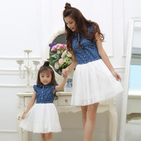 Wholesale match dresses for mom daughter resale online - Mother Daughter Dresses Summer Family Outfits Mom and Daughter Dress Matching Clothes Blue White Dress for Kids and Women