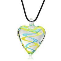 Wholesale wholesale blown glass pendants - Streamer glitter heart murano lampwork blown venetian glass Necklaces pendants jewelry handmade fashion jewelry