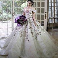 fabulosos vestidos de baile venda por atacado-Glamorous middle-east 2019 vestido de baile Sexy vestido de noiva fora do ombro Floral Lace apliques Fabulous Tulle coberto de renda vestidos de noiva