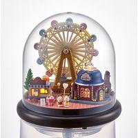brinquedos de rodas de madeira venda por atacado-Ferris wheel casa de bonecas casas de bonecas de madeira casa em miniatura montagem casa de bonecas diy bola de vidro toys kit totoro figura birthaday presente