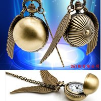 bola de reloj de cuarzo al por mayor-Harry Golden Ball reloj de bolsillo Potter Wings reloj de cuarzo reloj de bolsillo antiguo con cadena collar Classic Pocket Watches
