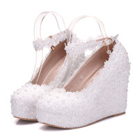 Wholesale 2019 New Style White Lace Bridal Shoes Slope Heel Waterproof Platform For One Word Buckle Wedding Party Shoes