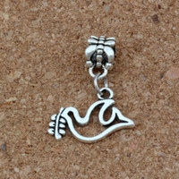 Wholesale peace dove necklace resale online - Peace Dove Olives Charms Pendants x24mm Antique Silver Fashion Jewelry DIY Fit Bracelets Necklace Earrings A