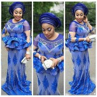 aso dantel toptan satış-Artı Boyutu Afrika Kraliyet Mavi Gelinlik Modelleri Mermaid İnciler Boncuklu Nijeryalı Dantel Aplikler Aso Ebi Abiye giyim Anne Gelin Elbiseler