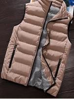 chaleco del invierno del estilo de los hombres s al por mayor-Chaleco informal de los hombres de invierno chaquetas sin mangas masculino nuevo estilo de moda sólido chaleco de los hombres otoño Outwear más el tamaño