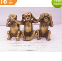 Wholesale Chinese Figurines Statues - christmas decorations for home+ Metal Crafts Home Decoration Crafts Chinese brass carved 3 not monkey figurine  monkey Statue