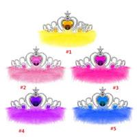 tiara coroa imperial venda por atacado-Tiara de cabelo Coroa Coroa Imperial Da Menina de Strass Crown Acessórios Para o Cabelo Da Pena Princesa Cosplay Multicolor para Crianças