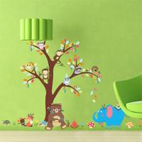 ingrosso albero da parete dei capretti-Adesivi murali sfondo asilo albero scimmia camera dei bambini impermeabile carta da parati rimovibile decorazioni per la casa decorazione murale arte 6 5zy Ww