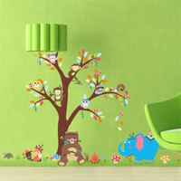 Wholesale pvc removable art murals online - Kindergarten Background Wall Stickers Monkey Tree Kids Room Waterproof Removable Wallpaper Home Decor Mural Decoration Art zy Ww