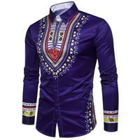 siyah etnik kıyafetler toptan satış-5 Renkler Afrika Erkekler Geleneksel Dashiki Baskılı İnce Giyim Siyah Beyaz Uzun Kollu Kısın Yaka Gömlek Etnik