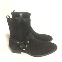 siyah deri kovboy çizmeleri toptan satış-High End Özelleştirilmiş El Yapımı Gerçek Resim klasik siyah SLP Yüksek Üst HAKIKI DERI COWBOY toka kayış wyatt Çizmeler