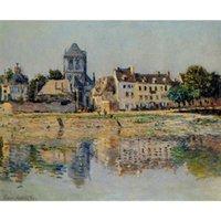 fluss gemälde großhandel-Claude Monet Gemälde von By the River in Vernon handgefertigte Leinwand Kunst für Schlafzimmer Hohe Qualität