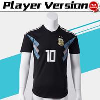 Wholesale argentina football shirt soccer - Player Version 2018 World Cup Argentina Away Soccer Jersey Argentina #10 MESSI Soccer Shirt #21 DYBALA #19 KUN AGUERO Away Football Uniforms