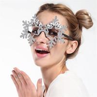 ingrosso ornamenti di fiocco di neve oro-Occhiali da neve in oro con fiocchi di neve Occhiali divertenti creativi Decorazione per feste di compleanno di Natale Argento Vendita calda 8 5sfa C