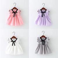 stoffbogenkleid großhandel-Neue Mädchen Sommerkleider Bogen Baby Mädchen Weste Strampler Baumwollgewebe Sleeveless Rock Atmungsaktives Outfit 9M-3T