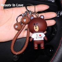 cony brown bear Australia - Cartoon Rilakkuma Bear Brown Bunny Cony Animal Kiki Keychain Women Leather Trinket Metal Key Chains Car Bag Pendent Charm D41