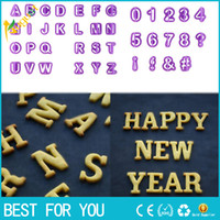Wholesale numbers cookie cutters - 40pcs set Alphabet Number Letter Plastic Fondant Cake Decorating Cookie Cutter Biscuit Mold