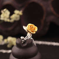 Wholesale Rose Ornament - 24k gold charm designer new 925 pure silver fresh female ornaments rose necklace jewellery wholesale China statement necklace statement