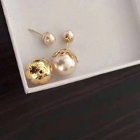 Wholesale decorating charms - 2018 New arrival Top brass material paris design earring with rose gold nature pearl decorate stamp logo charm stud earring for women jewelr