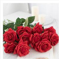 одноцветные розовые розы оптовых-Высокое моделирование Роза новый продавать один стебель поддельные красочные Шелковый цветок искусственная Радуга Роза свадьба украшения дома подарок