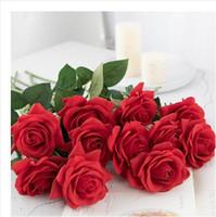 ingrosso regali fioriti artificiali-Alta simulazione rosa nuova vendita singolo stelo falso colorato fiore di seta arcobaleno artificiale rosa regalo di nozze decorazione della casa