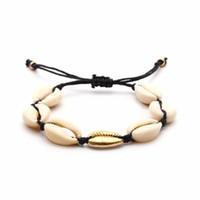 натуральные морские раковины оптовых-Handmade Sea Shell Bracelet Shellhard Natural Shells Friendship Strand Bracelet For Women Bohemian Jewelry Adjustable Rope Chain