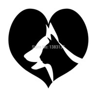 Wholesale Cat Laptop Decal - HotMeiNi Wholesale 20pcs lot New ! Dog And Cats In Love Silhouette Car Sticker For Truck Door Laptop Kayak Vinyl Decal