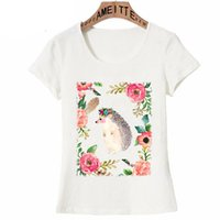 красивая девушка t рубашка оптовых-Beautiful Hedgehog with Flower Crown Art Print T-shirt 2019 New Summer Women T-Shirt Girl Casual Tees Fashion Woman Tops