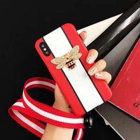 iphone funda venda por atacado-Yunrt luxo bling diamante 3d abelha case para iphone 8 7 6 6 s plus x moda listras verticais gg soft imd silicone tampa do telefone funda