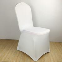 чехлы для стульев оптовых-Цвет белый дешевые стул крышка спандекс лайкра эластичный стул обложка сильные карманы для свадебные украшения отель банкет Оптовая