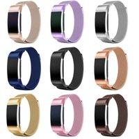 manyetik bilezik şarjı toptan satış-Fitbit şarj Için yeni 10 Renkler 2 Band Manyetik Milanese Döngü Fitbit charge2 Için paslanmaz çelik bilezik yedek bantları kayış