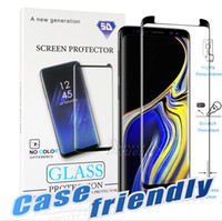 Wholesale 3d glossy case online – custom Case Friendly For S10 G Samsung Galaxy S10 S9 S8 Note Plus Note S7 S6 Edge D Curve Edge HD Clear Tempered Glass Screen Protector
