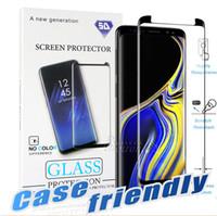 ingrosso protezione dello schermo-Caso friendly per S10 Samsung Galaxy 5G S10 S9 S8 Nota 10 Plus Nota 9 8 S7 S6 Bordo 3D curva di bordo HD rimuovono vetro temperato Screen Protector