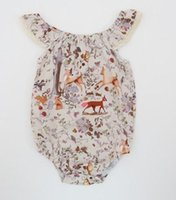 Wholesale Deer Baby Girl - Baby Girls Deer Cap Sleeves Rompers with Snap Summer Children Boutique Clothing Euro America 0-3T Infant Toddlers Girls Rompers