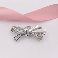 perlen silber armband armband großhandel-Authentische 925 Sterling Silber Perlen Brilliant Bow Charm Charms Passt Europäischen Pandora Style Schmuck Armbänder Halskette 797241CZ