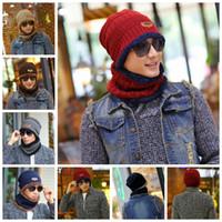 a7618bf558f42 Neck scarf cap Set Skullies Beanies Knitted wool hat winter cashmere hooded  men s hat collar warm Bib outdoor hat GGA1026