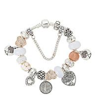 pulsera colgante bricolaje plata 925 al por mayor-925 plata esterlina plateado perlas árbol de la vida colgantes Charms pulseras para Pandora Charm Bracelet Bangle joyería de DIY para las mujeres regalo