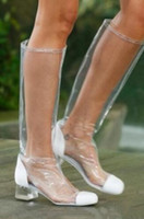 Wholesale runway boots - 2018 sexy women knee high boots PVC booties clear heel runway boots ladies dress shoes PVC boots women party shoes slip on