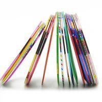 cinta de hilo al por mayor-30 UNIDS / LOTE Nail Art Decoraciones Mix Color Rolls Striping Tape Nail Sticker Todo para hilados metálicos línea Japón