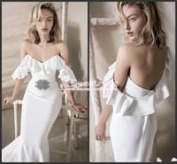 Wholesale Tulle Wedding Belt Shoulder - Vintage 2018 Mermaid Wedding Dress Custom Made Off Shoulder Rhinestone Belt Floor Length Satin Cheap Wedding Dresses Vestido de noiva