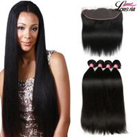 Wholesale virgin hair lace closures - Brazilian Virgin Hair Straight with lace Frontal 4Pcs Ear to Ear Lace Frontal Closure straight Virgin Hair 13x4 Frontal With Bundles Deals