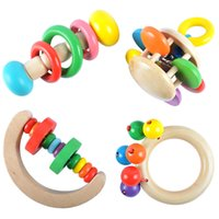 Wholesale baby beds for boys resale online - Children Hand Rattles Early Childhood Colorful Toys Wooden Orff Instruments For Baby Bed Bell Handy Toy Souptoys pd W